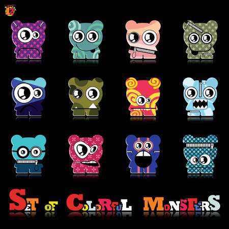 Set of twelve colorful monsters Stock Vector - 15835129