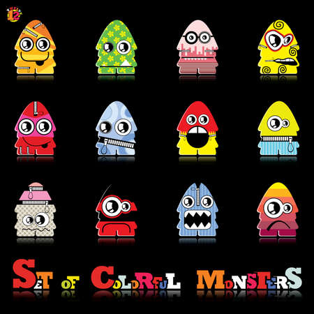 Set of twelve colorful monsters Stock Vector - 15835101