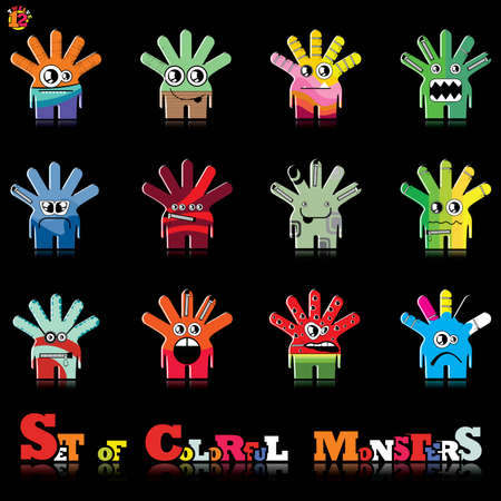Set of twelve colorful monsters Stock Vector - 15835114