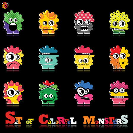 Set of twelve colorful monsters Stock Vector - 15835127