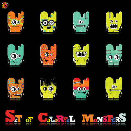Set of twelve colorful monsters Stock Vector - 15835140