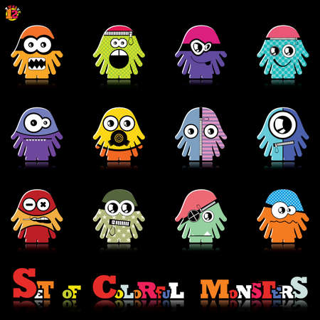 Set of twelve colorful monsters Stock Vector - 15835132