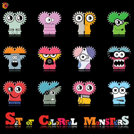Set of twelve colorful monsters Stock Vector - 15835135