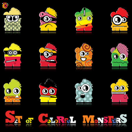 Set of twelve colorful monsters Stock Vector - 15835123
