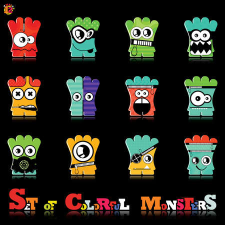 Set of twelve colorful monsters Stock Vector - 15835109