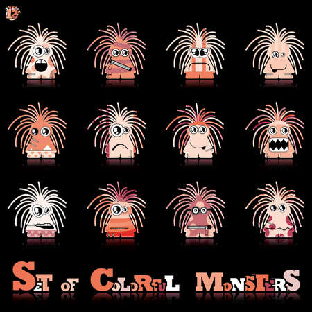 Set of twelve colorful monsters Vector