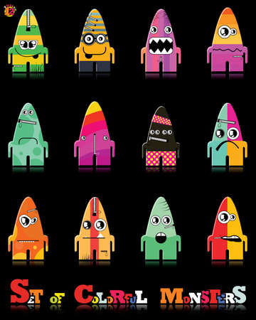 Set of twelve colorful monsters Stock Vector - 15835096