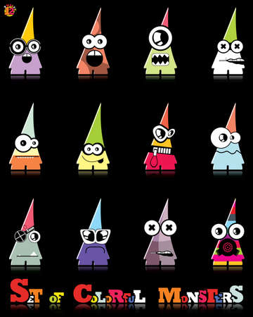Set of twelve colorful monsters Stock Vector - 15835063