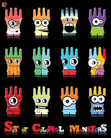twelve: Set of twelve colorful monsters
