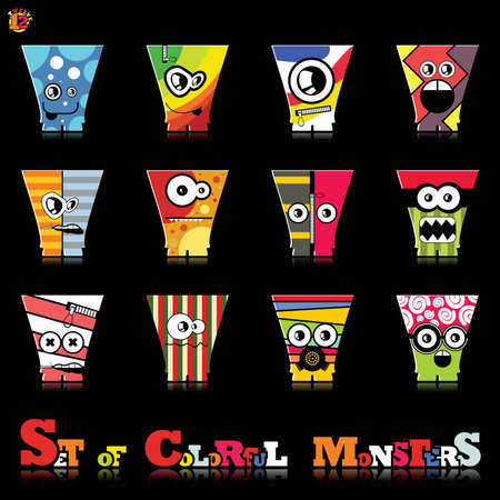 Set of twelve colorful monsters Stock Vector - 15835100