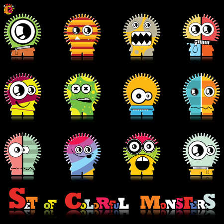 Set of twelve colorful monsters Stock Vector - 15835130