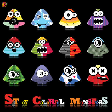 Set of twelve colorful monsters Stock Vector - 15835141