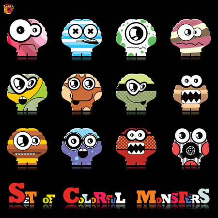 Set of twelve colorful monsters Stock Vector - 15835091