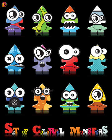 Set of twelve colorful monsters Stock Vector - 15835094