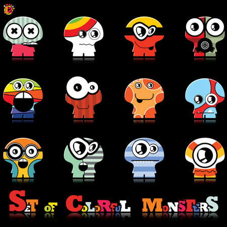Set of twelve colorful monsters Stock Vector - 15835065