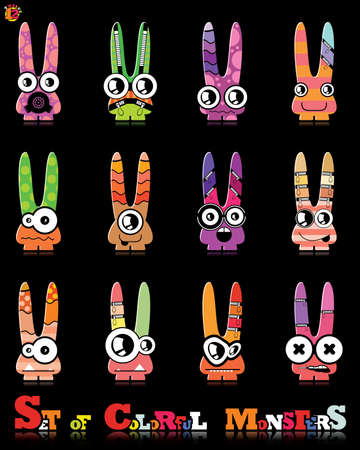 Set of twelve colorful monsters Stock Vector - 15835089