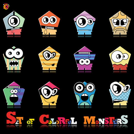 Set of twelve colorful monsters Stock Vector - 15835061