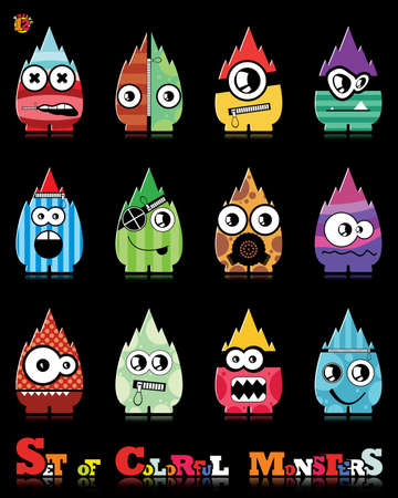 Set of twelve colorful monsters Stock Vector - 15835088