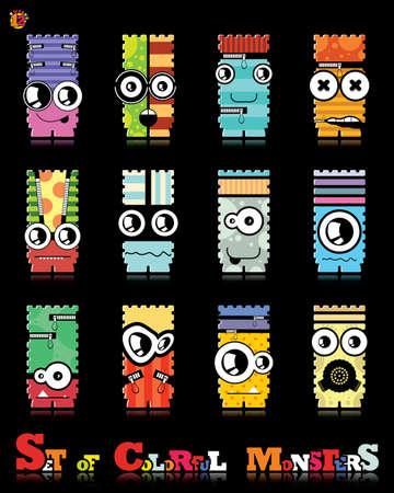 Set of twelve colorful monsters Stock Vector - 15835136