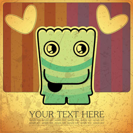 Monster on retro background Stock Vector - 15835191
