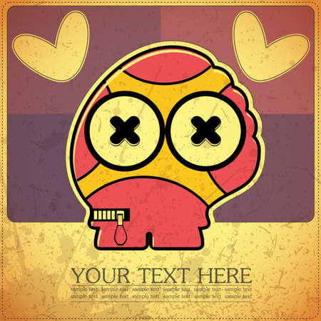 Monster on retro background Stock Vector - 15957230