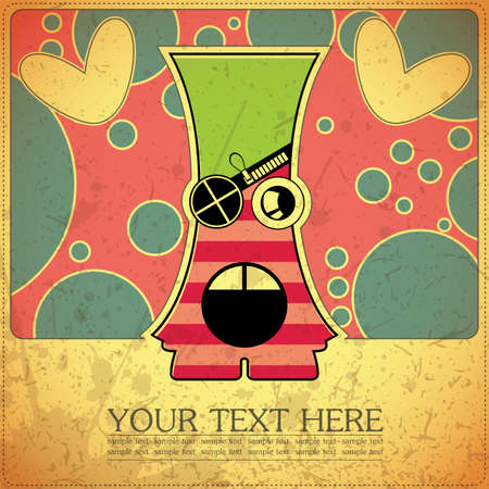 Monster on retro background Stock Vector - 15957224