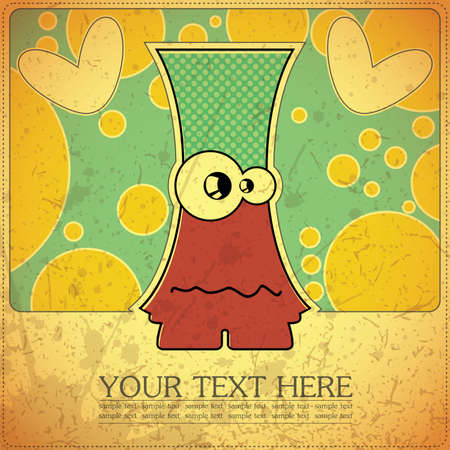 Monster on retro background Stock Vector - 15957227