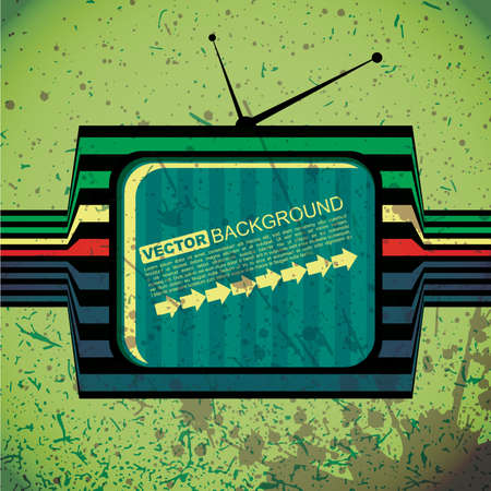 textured retro tv on grunge background Vector