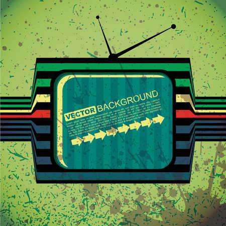 textured retro tv on grunge background Stock Vector - 15958057