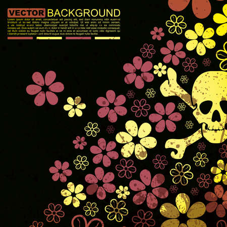Abstract skull and flowers grunge background design Vector