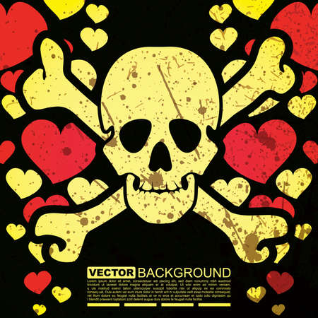 Abstract skull and hearts -  grunge background design Stock Vector - 16057300
