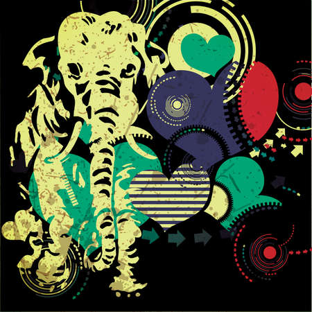 Retro elephant with heart- grunge background Vector