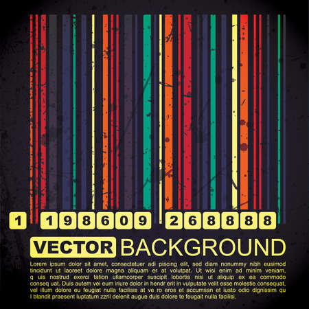 Grunge barcode background - vector Vector
