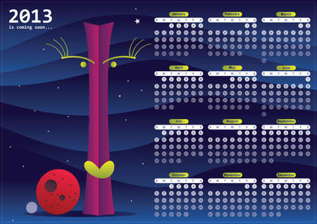 Calendar 2013 with character and two planets Vector