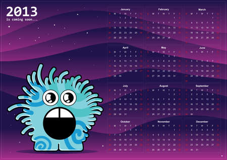Calendar 2013 with monster Vector