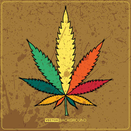 cannabis leaf: Abstract background with hemp Illustration