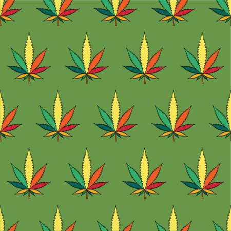 Cannabis leafs  - seamless pattern Vector