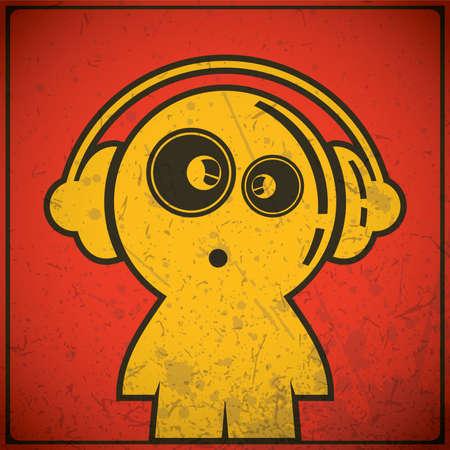 funny boy with headphones Stock Vector - 16699732