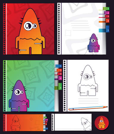 Notebook with monsters Stock Vector - 16699617