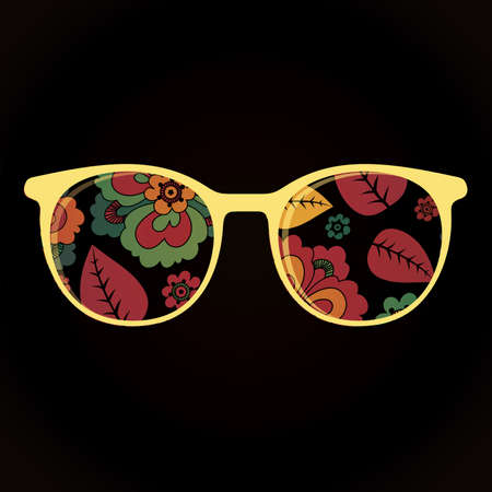 fashionably: Glasses with flower on black