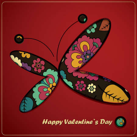 Valentine day card with butterfly Vector
