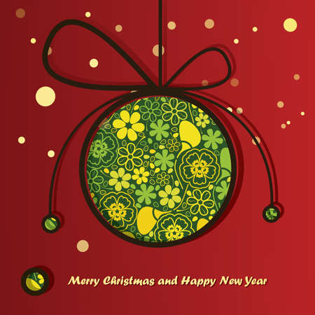 New Year card with Christmas ball Stock Vector - 16912488