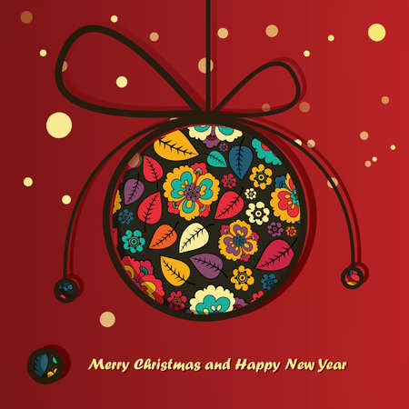 New Year card with Christmas ball Stock Vector - 16912545