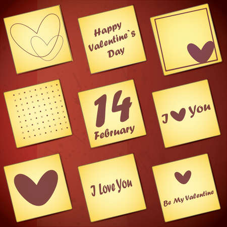 Set of nine valentine`s day card Stock Vector - 16912504