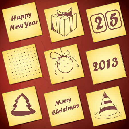 Set of nine New Year cards Stock Vector - 16912501