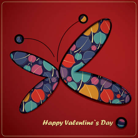 Valentine`s day card with butterfly Vector
