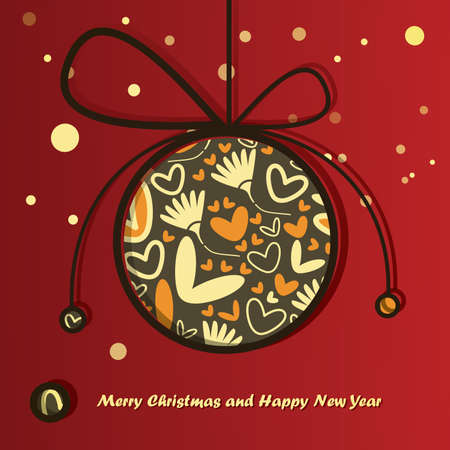 New Year card with Christmas ball Stock Vector - 16912586