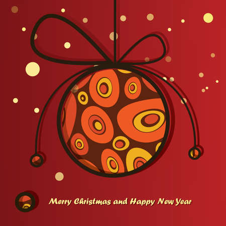 New Year card with Christmas ball Vector