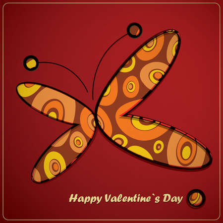 Valentine s day card with butterfly Vector