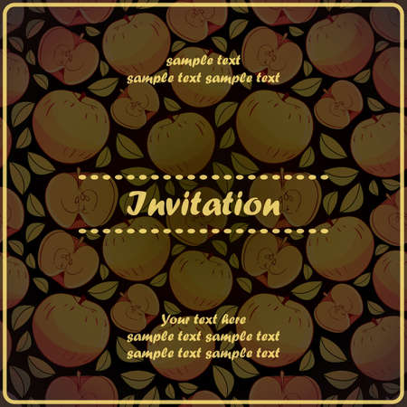 Invitation card with apple Stock Vector - 17203536